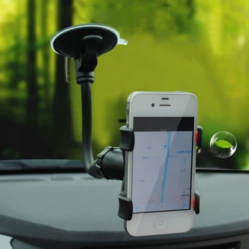 Длинный гибкий держатель для телефона на присоске с прищепкой в машину на лобовое стекло