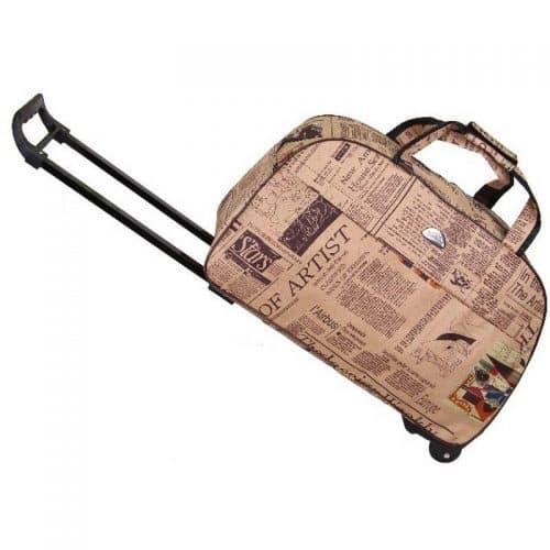 Дорожная сумка-чемодан с выдвижной ручкой на колесиках