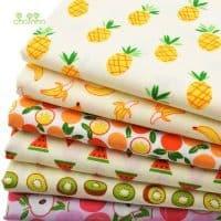 Хлопковая ткань с рисунком фруктов в наборе (яблоко, ананас, банан, мандарин, арбуз, киви)