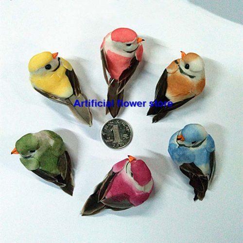 Искусственные декоративные маленькие птички на магнитах для декора