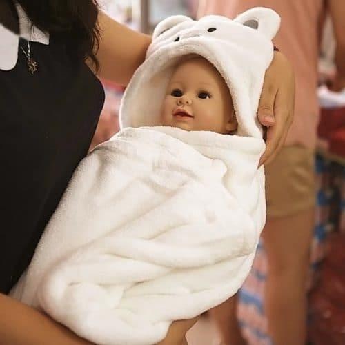 Махровое полотенце халат пончо с уголком капюшоном для новорожденных детей