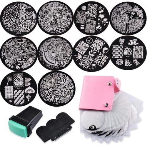 Набор для стемпинга дизайна ногтей (10 пластин, 1 штамп, 1 скрапер, 1 альбом)