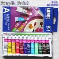 Набор художественных акриловых красок с кисточкой 12 цветов для рисования, росписи холста, стекла, бумаги