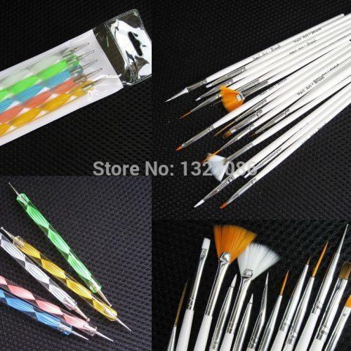 Набор из 15 кистей и 5 двусторонних дотсов для маникюра, дизайна ногтей