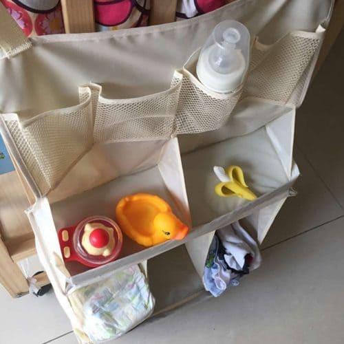 Органайзер-карман на детскую кроватку для хранения памперсов и детских принадлежностей