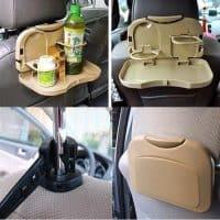 Откидной столик-держатель-подставка в автомобиль для еды, напитков, бутылок на спинку сиденья