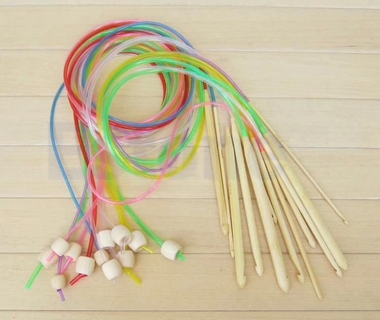 купить пластиковый длинный крючок с леской для тунисского вязания по