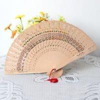 Складной ручной веер деревянный бамбуковый