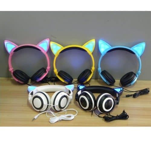 Складные наушники с кошачьими ушками со светодиодной подсветкой