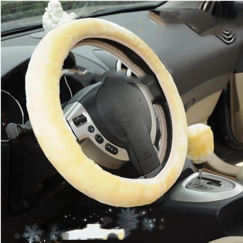 Теплый меховой шерстяной чехол на руль автомобиля на зиму