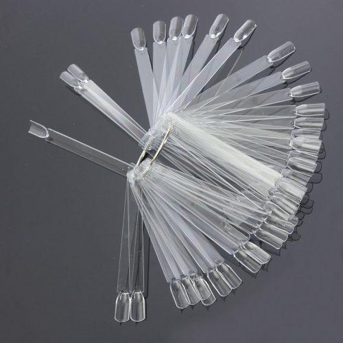Типсы тренировочные прозрачные на кольце веером для дизайна, палитры лаков