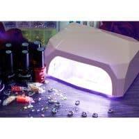 UV LED (УФ/ЛЕД) лампа гибрид для сушки гель лака для маникюра ногтей 36 Вт кристалл Genailish
