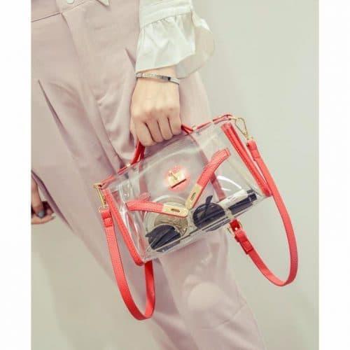 Женская прозрачная сумка-клатч из пластика (ПВХ) через плечо