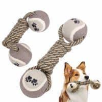 Игрушка-гантеля с двумя мячиками для собак