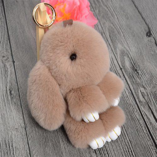 Мягкий маленький пушистый брелок-кролик на сумку, для ключей