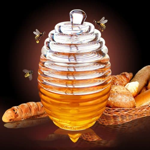 Пластиковая прозрачная банка для мёда с ложкой-палочкой