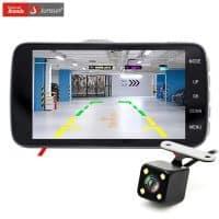 Автомобильный видеорегистратор-камера с двумя камерами переднего и заднего вида Junsun 4 дюйма Full HD 1080 P