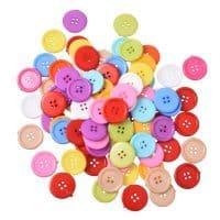 Большие круглые пластмассовые пуговицы 25 мм на 4 отверстия в наборе 100 шт.