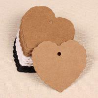 Бумажные бирки сердца для изделий ручной работы, одежды
