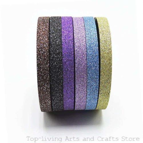 Декоративный блестящий разноцветный скотч с блестками в наборе 6 шт.