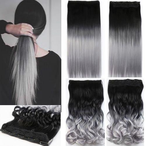 Искусственный накладной шиньон трессы парик волосы серого цвета на заколках в стиле омбре