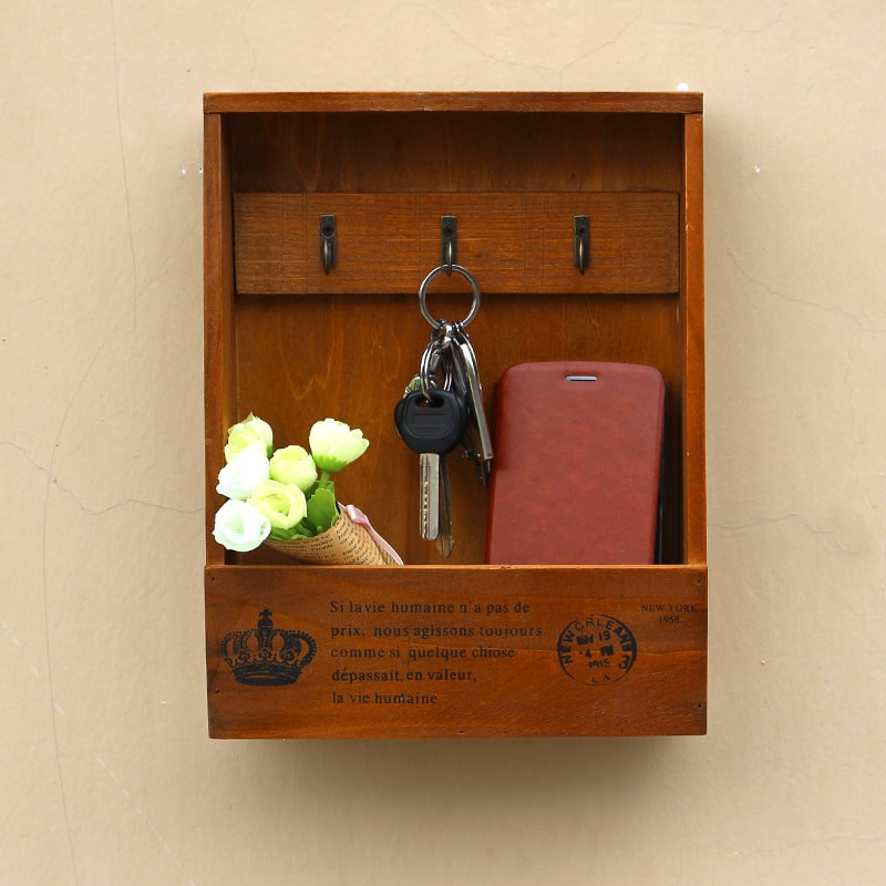 Купить Ключница настенная деревянная с полкой в прихожую