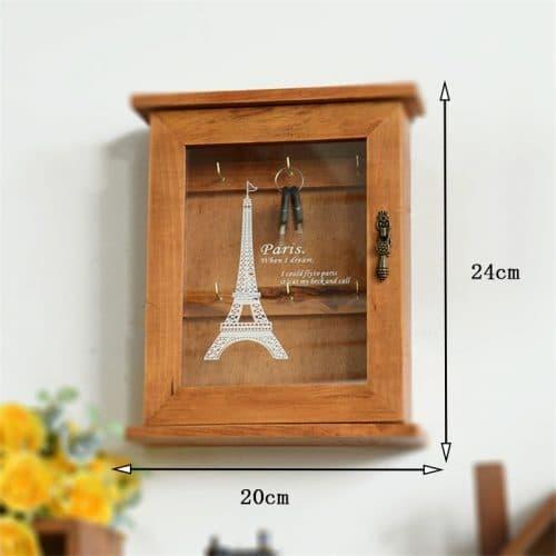 Ключница настенная деревянная с прозрачной открывающейся дверью в прихожую для 6 ключей