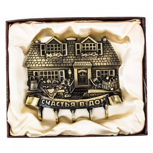 """Ключница настенная металлическая """"Счастья в дом"""" в прихожую для 5 ключей"""