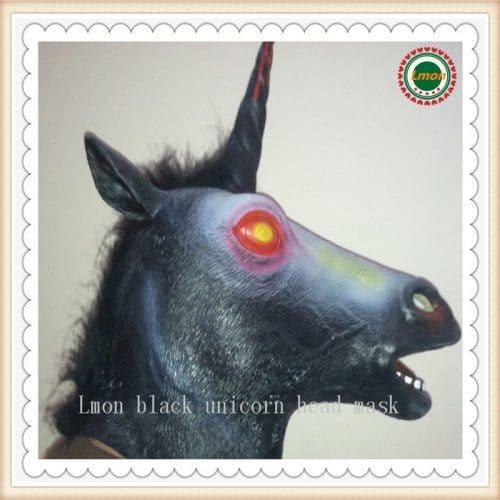 Латексная маска черного единорога на голову на хэллоуин