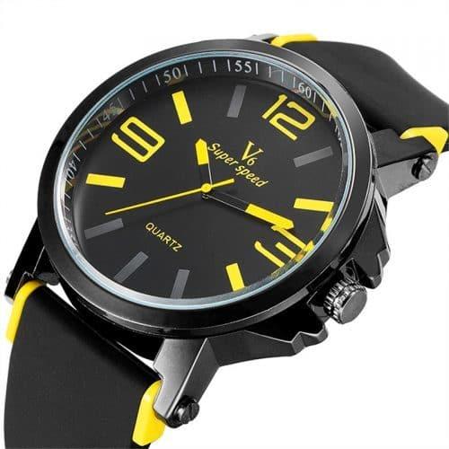 Мужские наручные кварцевые часы с силиконовым ремешком V6 Super Speed