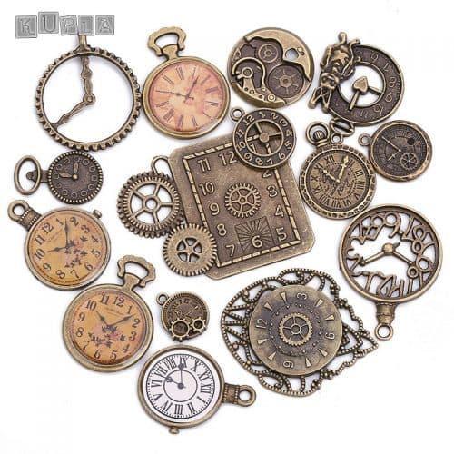 Набор металлических декоративных подвесок часов 15 шт.