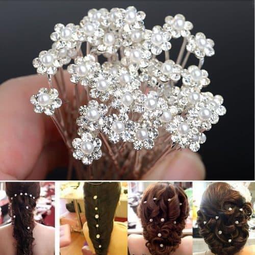 Шпильки-цветочки для волос на свадьбу