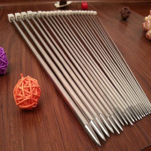 Стальные спицы для вязания 25/35 см в наборе 11 шт.