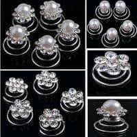 Украшение заколка-спираль с жемчугом и кристаллами для волос на свадьбу в наборе 10 шт.