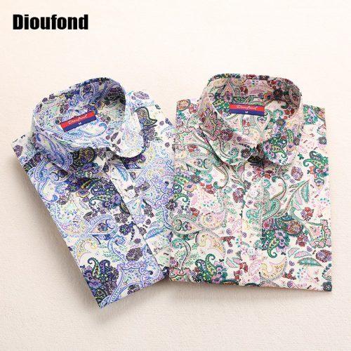 Женская хлопковая модная стильная рубашка-блуза на пуговицах с цветочным и другим принтом-рисунком (имеются большие размеры)