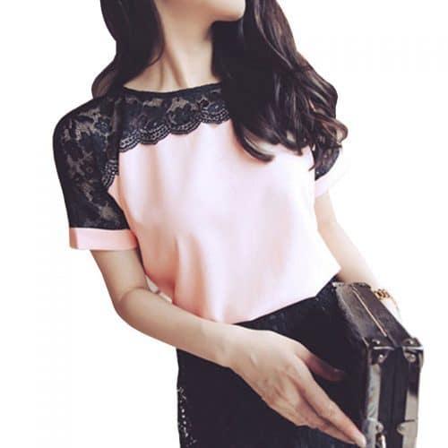 Женская шифоновая блузка-футболка с кружевом с коротким рукавом из полиэстера (размер от S до 5XL)