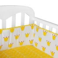Бампер бортик в кроватку с облаками, звездами (белый, серый, желтый)