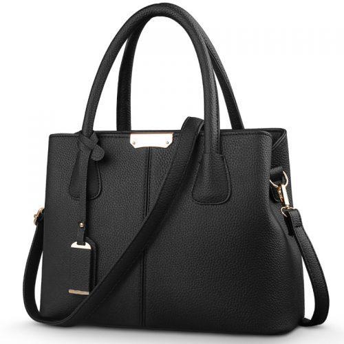 Большая вместительная удобная женская сумка прямоугольной формы из искусственной кожи с двумя длинными ручками и ремнем