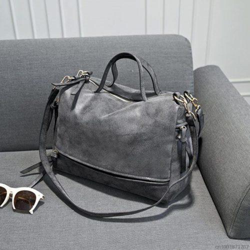 Большая вместительная винтажная женская сумка прямоугольной формы из искусственной замши, с двумя ручками и ремнем