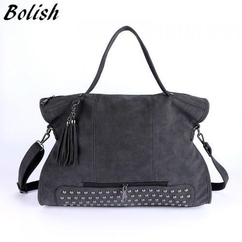 Большая вместительная винтажная женская сумка прямоугольной формы с заклепками и кисточкой из искусственной замши, с двумя ручками и ремнем
