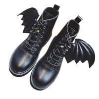 Ботинки черные женские с крыльями, по щиколотку, на шнуровке, на толстой подошве, демисезонные/зимние