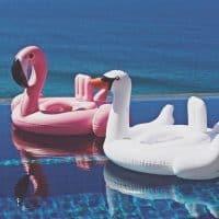 Детский надувной плавательный круг в виде фламинго и лебедя