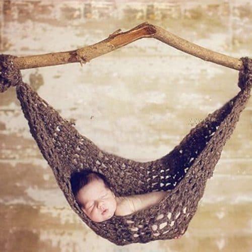 Гамак детский вязаный подвесной для новорожденных