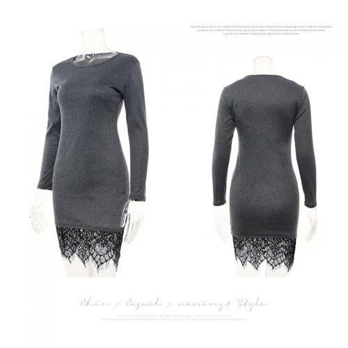 Короткое мини платье с длинным рукавом и кружевом внизу