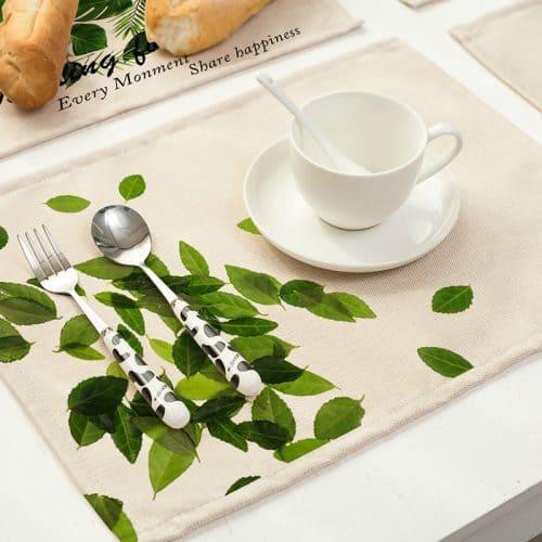Красивые тканевые хлопковые зеленые салфетки для сервировки стола
