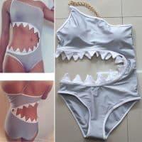 Купальник женский слитный монокини с зубами акулы