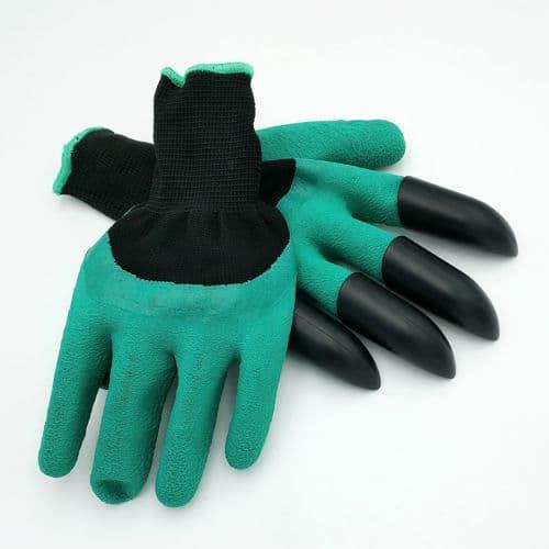 Латексные удобные перчатки с насадками на пальцах для работы в саду и огороде