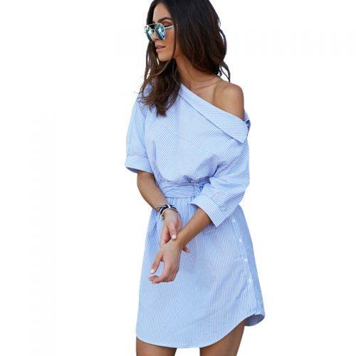 Летнее короткое платье со спущенным плечом в полоску, с поясом и рукавом три четверти