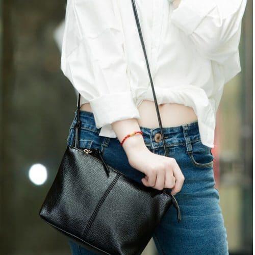 Маленькая женская однотонная сумка из искусственной кожи на длинном ремне через плечо, в стиле минимализм