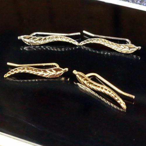 Медные изысканные серьги в виде/форме листа под золото и серебро